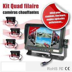 Kit 4 cameras chauffantes de recul 150° ecran quad 7 pouces