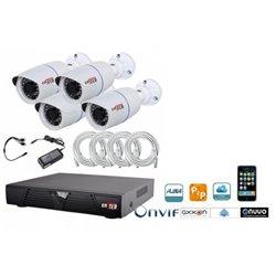 Kit 4 caméras avec 4 caméras, 1 enregistreur et disque dur 1To et câbles